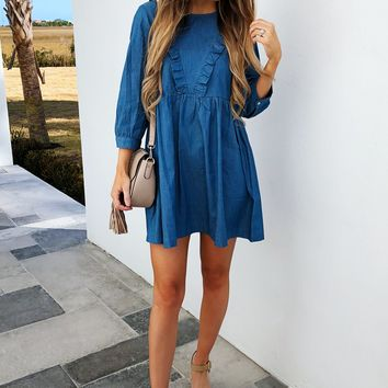 Small Town Gal Dress: Denim