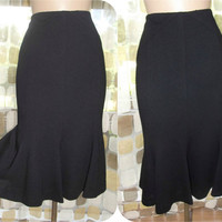 Vintage 80s 50s Wool Pencil Skirt With Mermaid Tulip Sweep 10/12 M/L Bombshell Pin-Up