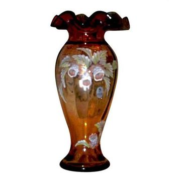 "Fenton Gold Amberina ""Woodland Bouquet"" 6 inch tall Vase by Tammy Neader Limited Edition"