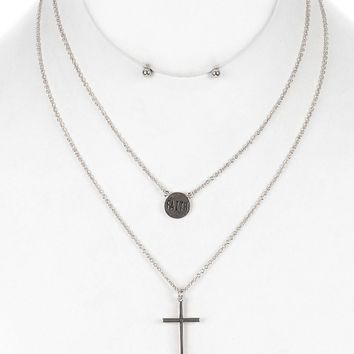 Cross  Double Layer Chain Message Disc Faith  Necklace Earring Set