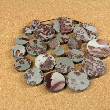 Crazy Horse Jasper Graduated Coin Beads - Smooth Round Maroon and Grey Beads, 12-32mm, 16 inch strand