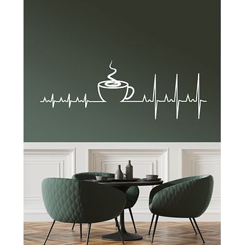 Vinyl Wall Decal heartbeat Pulse Cup Of Coffee House Stickers (3339ig)
