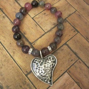 Natural India Rare Agate Beaded bracelet Patina large heart charm dangles Perfect gift for everyday wedding or country girl