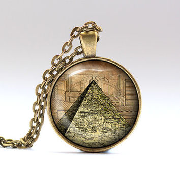 Steampunk jewelry Pyramid pendant Esoteric necklace SNW11