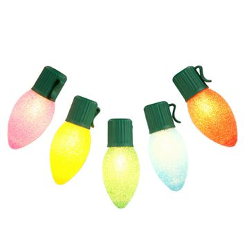 Set of 10 Multi-Color LED C7 Sugared Christmas Lights - Green Wire
