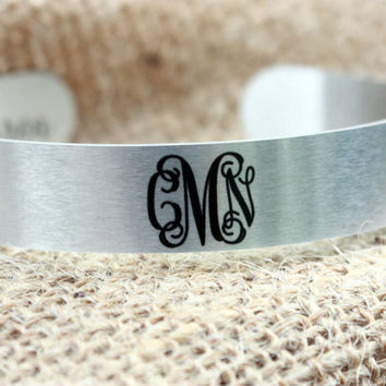 Silver Cuff Bracelet ~ Personalized Monogram ~ Custom Gift for Her, Mother's Day, Birthday, 21, 30, 40 ~ Bridal Gift ~ Custom Phrase Gift