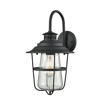 San Mateo 1-Light Outdoor Wall Sconce in Textured Matte Black with Clear Seedy Glass