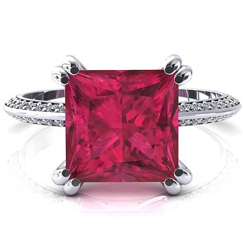 Nancy Princess Ruby 4 Double Prong 1/2 Eternity Diamond Knife Shank Accent Engagement Ring