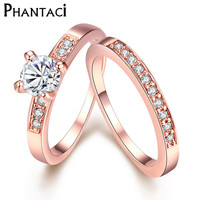 Luxury 2 Pcs CZ Crystal Set Double Rings Female Gold Plated Wedding Brand Rhinestone Engagement Finger Ring For Women Jewelry