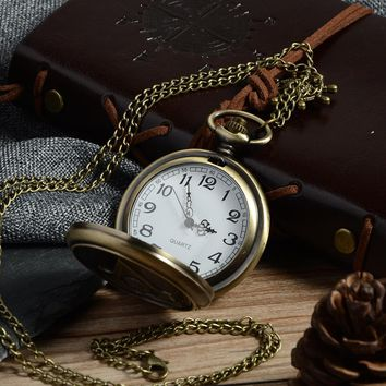 Cindiry New Bronze Assassin's Creed Sci-Fi Movie Quartz Pocket Watch Analog Pendant Necklace Mens Womens Watches Chain Gift P20