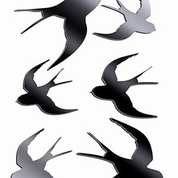Birds in Flight Mirrored Wall Art