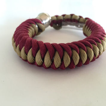 Burgundy and Gold 550 Paracord Secret Pipe Bracelet w/ FREE SHIPPING