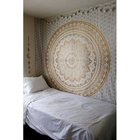 Tapestry Gold Ombra by Craft N Craft India Mandala Tapestry, Queen Indian Mandala Wall Art Hippie Wall Hanging Bohemian Bedspread