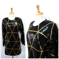 Vintage Sequin Black Tunic Top Mini dress L'EAU VIVE chevron shirt blouse 80s beaded Hong Kong S/M