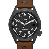 Fossil Aeroflite Black Dial Brown Leather Strap Mens Watch AM4538