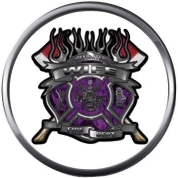 Purple Fire Ax Shield Maltese Cross Heart Firefighter Wife Thin Red Line Courage Under Fire 18MM-20MM Snap Charm Jewelry New Item