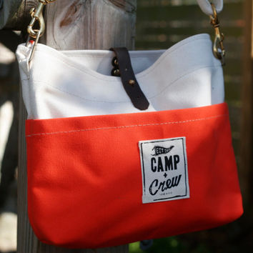 Everyday Tote, orange,small tote,bag, canvas bag, waxed canvas bag, handmade, leather bag, shoulder bag, messenger bag, cross body bag, tote