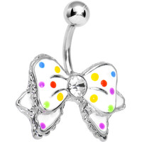 Dandy White and Multi Polka Dot Bow Belly Ring | Body Candy Body Jewelry