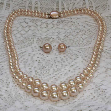 Vintage Faux Pearl  Double Strand Necklace and Clip On Button Earrings In Powder Pink