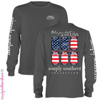 Simply Southern Collection Bless Your Heart USA Mason Jar Girlie Bright Long Sleeve T Shirt
