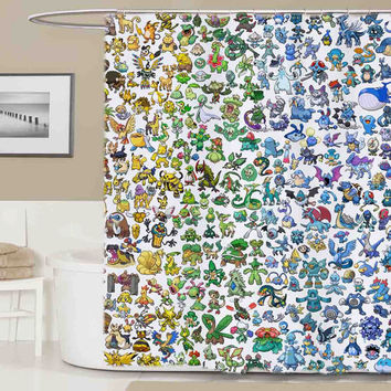 pokemon all shower curtain, curtains