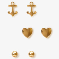 Bead, Heart & Anchor Stud Set
