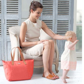 Storksak Noa Coated Canvas Diaper Bag Set - Coral