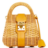 Sunflower Pebble Grain Leather & Rattan Manray Mini Satchel