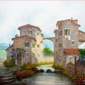 Italian painting country old village with stream Tuscany charm original handmade oil canvas of Luciano Torsi Italy Italia