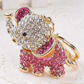 Animal Crystal Golden Color 3D Elephants Animal Key Chain Charm Pendant Keychain Key Ring [8833662348]