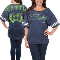 Seattle Seahawks 5th & Ocean Women's Burnout Oversized T-Shirt – College Navy