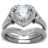 Stainless Steel Halo Heart 3.35 Carats CZ Wedding Ring Set