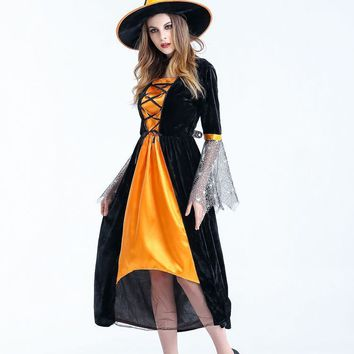 Western Style Halloween Costumes Witch Cosplay Three Piece Set Holiday Party Women Clothing Fashion Role Long Dresses For Ladies