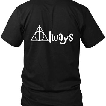 Always Deathly Hallows Harry Potter 2 Sided Black Mens T Shirt