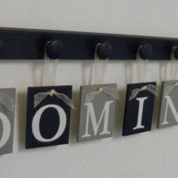 Navy Gray Nursery Wall Art - Grey Navy Blue Baby Nursery Decor - Custom for DOMINIC - Personalized Name and 7 Wooden Wall Hooks