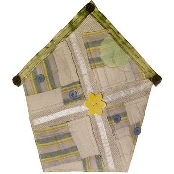 Small Art Quilt, Wall Hanging, Fabric Birdhouse, Upcycled Quilt, Patchwork