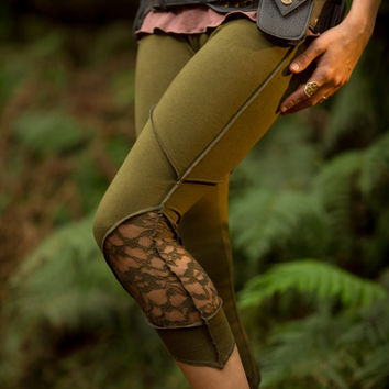 Layla Leggings (Green) - Hippie Festival Stylish Stretchy Lycra Cotton Boho Bohemian Sexy Gypsy Tights