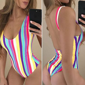 Colorful Strips Sexy sport beach women's swimwear Multi-band hollow professional ONE PIECE SWIMSUIT Print bathing suit