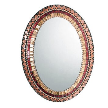Oval Mosaic Mirror in Bronze, Copper, Maroon -- Jeweled Toned Wall Mirror