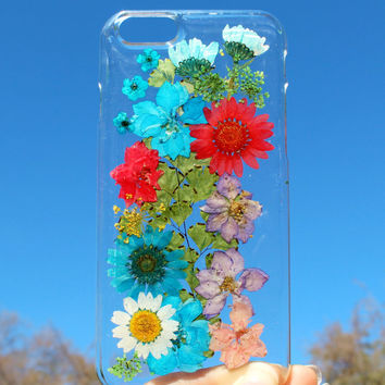 Hand Selected Natural Dried Pressed Flowers Handmade on iPhone 6 Crystal Clear Case: Easy Snap on Faceplate