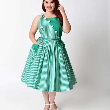 Unique Vintage Plus Size 1950s Style Green & White Stripe Hamilton Swing Dress