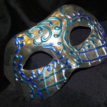 Masquerade Mask in Blue, Teal and Silver