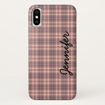 iPhone X Case, Gray and Pink Plaid, Personalized iPhone X Case