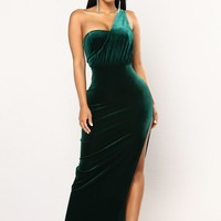 Arden Velvet Dress - Hunter Green
