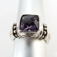 Sterling Silver and Gold Vermeil faceted Amethyst ring with cross womans jewelry gemstone