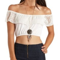 Crochet Flounce Off-the-Shoulder Crop Top