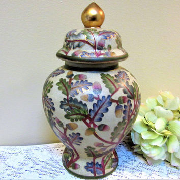 Ginger Jar Asian Japanese Large Porcelain Hand Painted Blossoms Gold Vintage blm