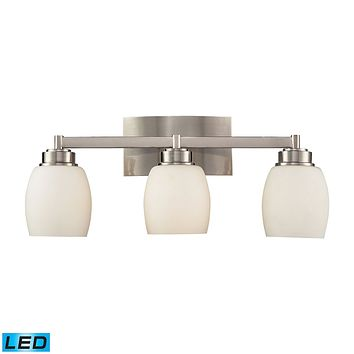 Northport 3-Light Vanity Lamp in Satin Nickel with Opal Glass - Includes LED Bulbs