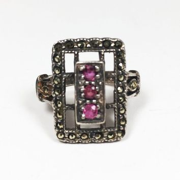 Vintage Art Deco Ruby Marcasite Sterling Silver Ring Size US 4 3/4 Open Work Rectangular Design Motif