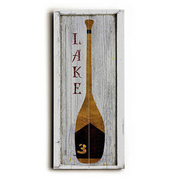 Lake Oar by Artist Beth Albert Wood Sign